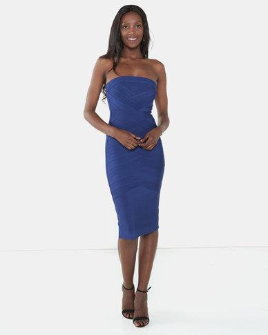 UrielP Haute Couture Sleeveless Dress Navy Blue