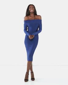 UrielP Haute Couture Long Sleeve Bodycon Dress Royal blue