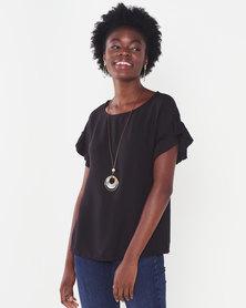 UB Creative Viscose Top with Frill Sleeve Black