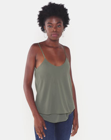 UB Creative Georgette Double Long Cami Green