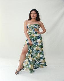 INFIN8TI Tropical Slit Maxi Skirt