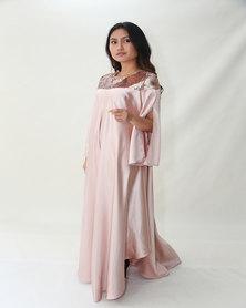 Mishah Swing Maxi Bridesmaid Dress Rose Gold