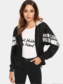 Elite Occasions Silver Striped Zip Hooded Jacket