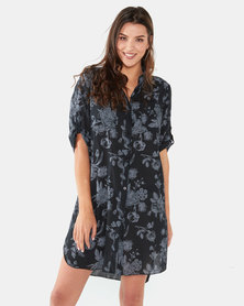 UB Creative Cotton Floral Print Dress Black
