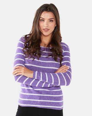 UB Creative Thin Stripe Jersey Knit Top Purple