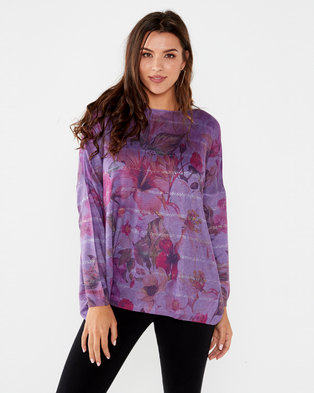 UB Creative Jersey Knit Floral Print Top