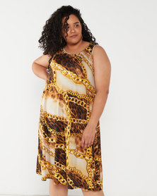 Queenspark Plus Collection Printed Sleeveless Umbrella Knit Dress Gold
