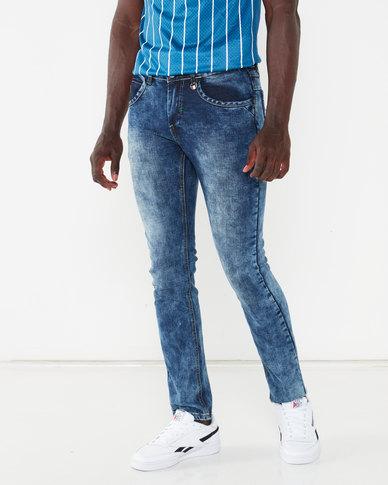K-Star 7 Acid Washed Stretch Denim Jeans Indigo