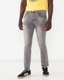 K-Star 7 Lex Washed Stretch Denim Jeans Grey