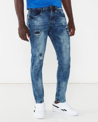 K-Star 7 Bogata Distressed Stretch Denim Jeans Indigo