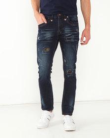 K-Star 7 Santiago Patched Stretch Denim Jeans Dark Indigo