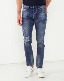 K-Star 7 Alegre Distressed Stretch Denim Jeans Indigo