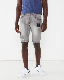 K-Star 7 Structured Patched Denim Shorts Dirty Grey