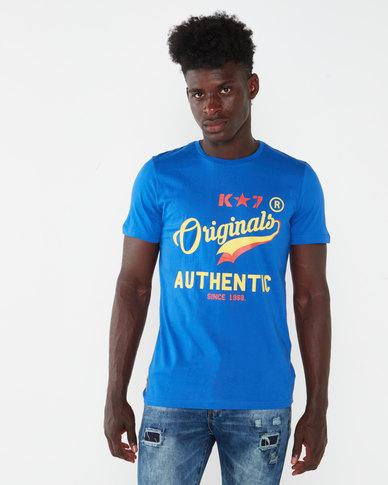K-Star 7 View Printed Crew Neck T-shirt Royal Blue
