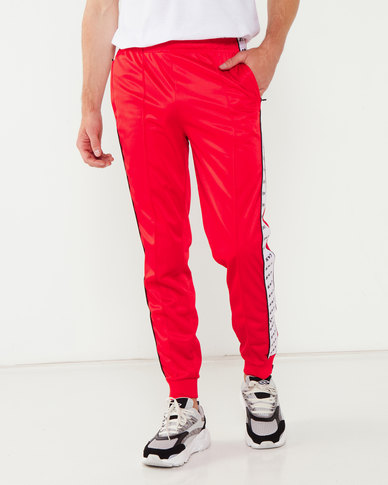 K-Star 7 Snap Tricot Trackpant With Tape Detail Red