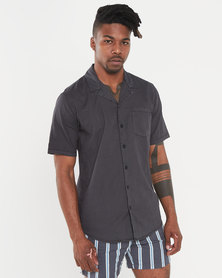 Silent Theory Breeze Linen SS Shirt Washed Black