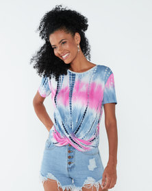 Paige Smith Tie Knot Top Pink/Blue