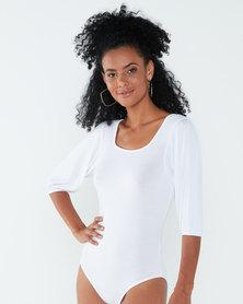 Paige Smith Puff Sleeve Bodysuit White