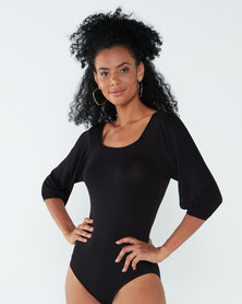 Paige Smith Puff Sleeve Bodysuit Black