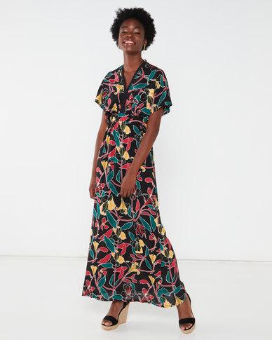Utopia Bold Floral Kimono Maxi Dress Black