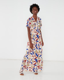 Utopia Bold Floral Kimono Maxi Dress White/Blue