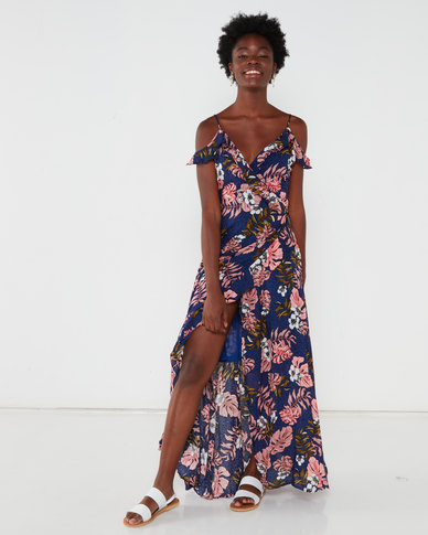 G Couture Off The Shoulder Strappy Frilled Dress Navy