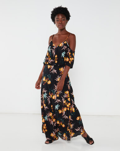 G Couture  Strappy Maxi With Top Overlay Black