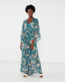 G Couture Kimono Sleeve Lined Maxi Dress Teal