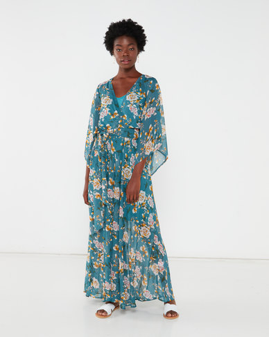 G Couture Kimono Sleeve Lined Maxi Dress Teal