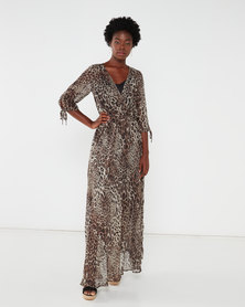 G Couture Animal Printed Mock Wrap Maxi Dress Neutrals