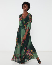 G Couture Printed Mock Wrap Maxi Dress Green