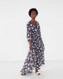 G Couture Print Kimono Sleeve Lined Maxi Dress Navy