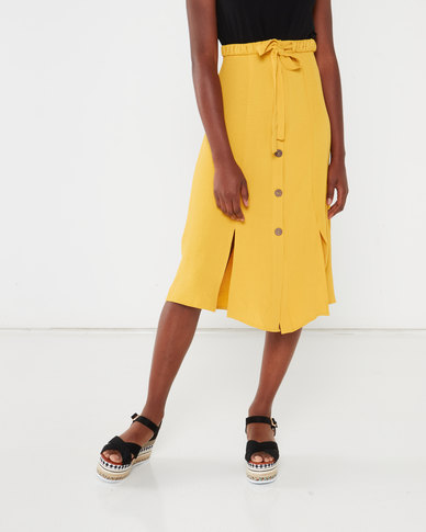 Utopia Button Through Soft Twill Skirt Mustard