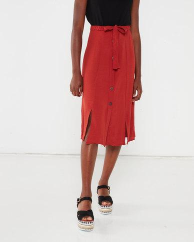 Utopia Button Through Soft Twill Skirt Rust