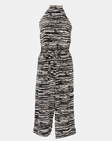 Utopia Stripe Viscose Halterneck Jumpsuit Black/White