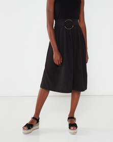 Utopia Crepe Scuba Pleated Skirt Black