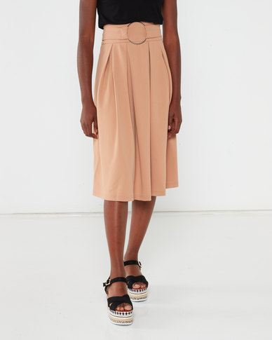 Utopia Crepe Scuba Pleated Skirt Stone
