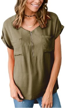 JAVING short sleeve collarless utility style blouse with front pocket and zip detail - olive