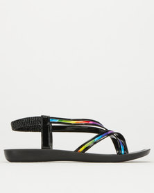 Utopia Multi Colour Strappy Sandal Black
