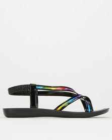 Utopia Multi Colour Strappy Sandal Black