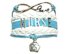 Urban Charm NURSE Infinity Bracelet - Blue & White