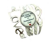 Urban Charm Infinity Bracelet with Glass Cabochon - Autism - White