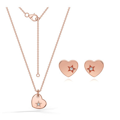 Dhia S925 Sterling Silver Cupid Heart Necklace Earrings Set With Swarovski Zirconia Rosegold