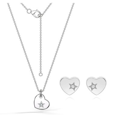 Dhia S925 Sterling Silver Cupid Heart Necklace Earrings Set With Swarovski Zirconia
