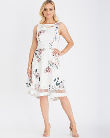 Contempo Printed High-Low Flare Dress Ivory