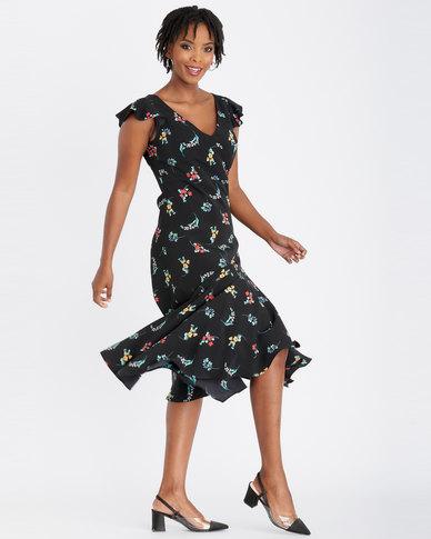 Contempo Printed Flutter Sleeve Dress Black