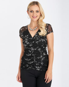 Contempo Rouched Front Printed Mesh Top Black