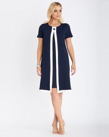 Contempo  Colour Block Twofer Dress Navy