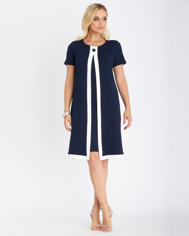 Contempo  Colour Block Twofer Dress Navy
