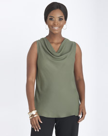 Contempo Cap Sleeve Cowl Neck Bias Top Khaki